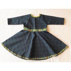 Dívčí šaty tmavě modré karo