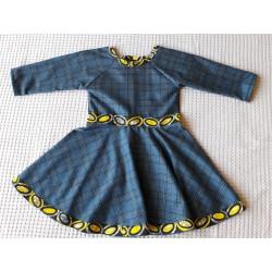 Dívčí šaty modro-šedé karo